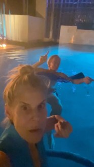 """Amy Gross takes a video selfie in her oceanside pool with her husband, """"Bond King"""" Bill Gross. In the video, Amy Gross is singing loudly and Bill Gross is wagging his fingers to the beat -- behavior that a judge said was """"appalling"""" and violated a restraining order."""