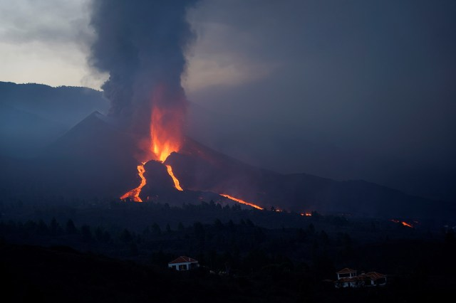 The Cumbre Vieja volcano continues to erupt on the Canary Island of La Palma on Oct. 9, 2021.