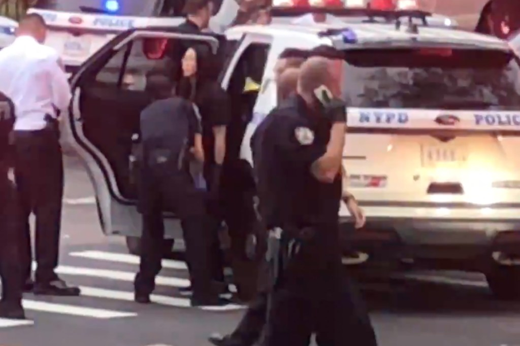 Yvonne Wu getting patted down at the scene.