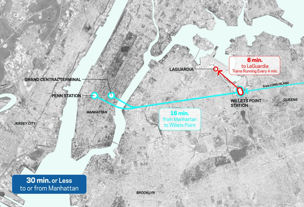 A map of the AirTrain's proposed service.