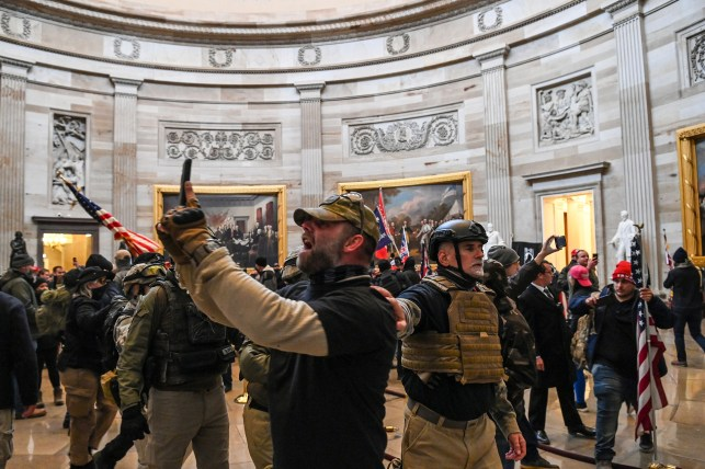 Supporters of US President Donald Trump entered the US capital, Rotunda, on January 6, 2021.