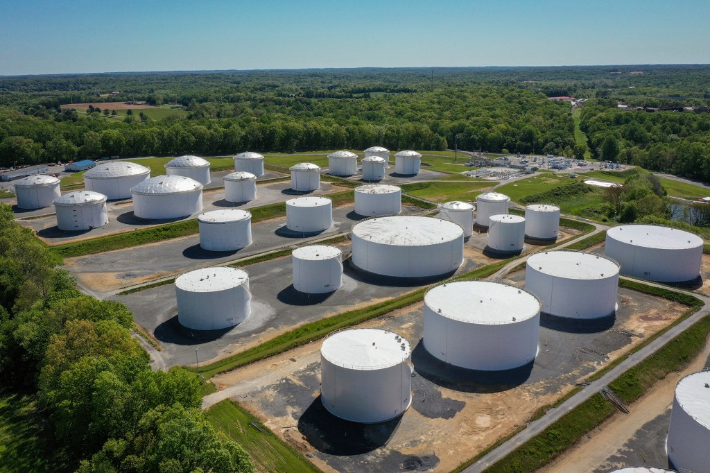Holding tanks are seen at the Dorsey Junction Station of  Colonial Pipeline