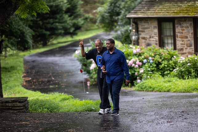 Notorious actor Bill Cosby left his home with spokesman Andrew Wyatt a day after his release from prison.