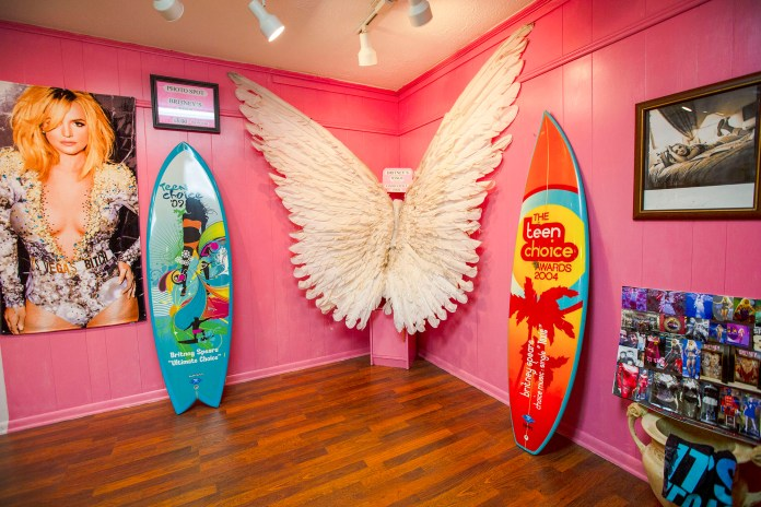 Memorabilia from the Britney Spears Museum in Kentwood, Louisiana.