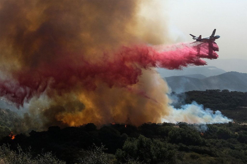 Crews have worked to contain the fire in Goleta, Calif., where Rancho del Cielo, known as the Western White House during Ronald Regan's presidency, is located.