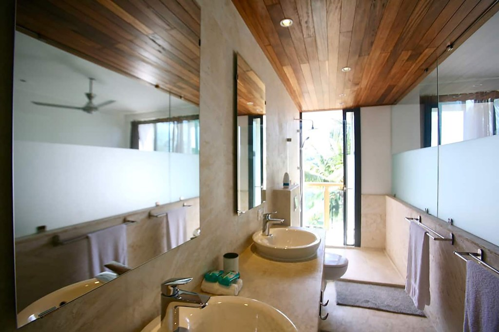 One of eight bathrooms is pictured.