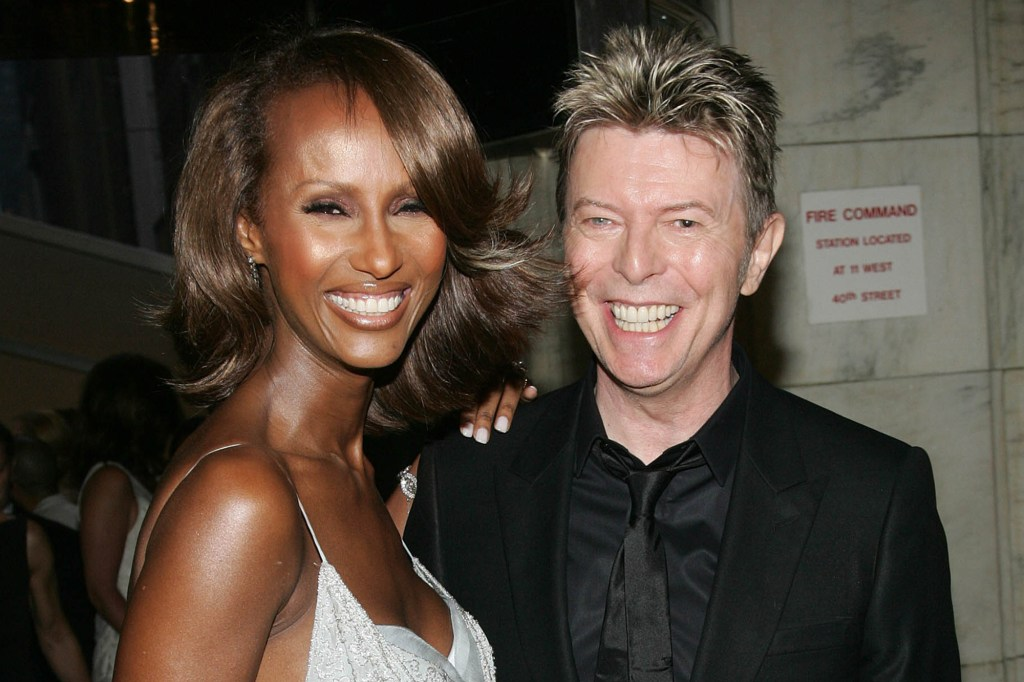 David Bowie is shown with Iman in 2005.