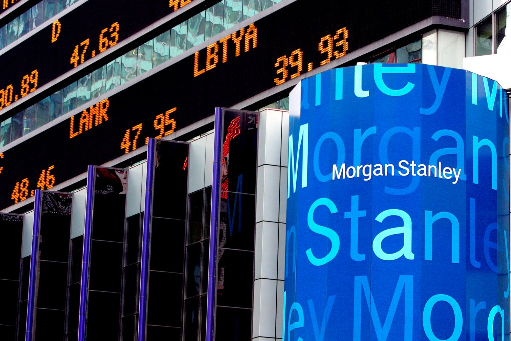 Morgan Stanley signage on exterior of its headquarters in New York