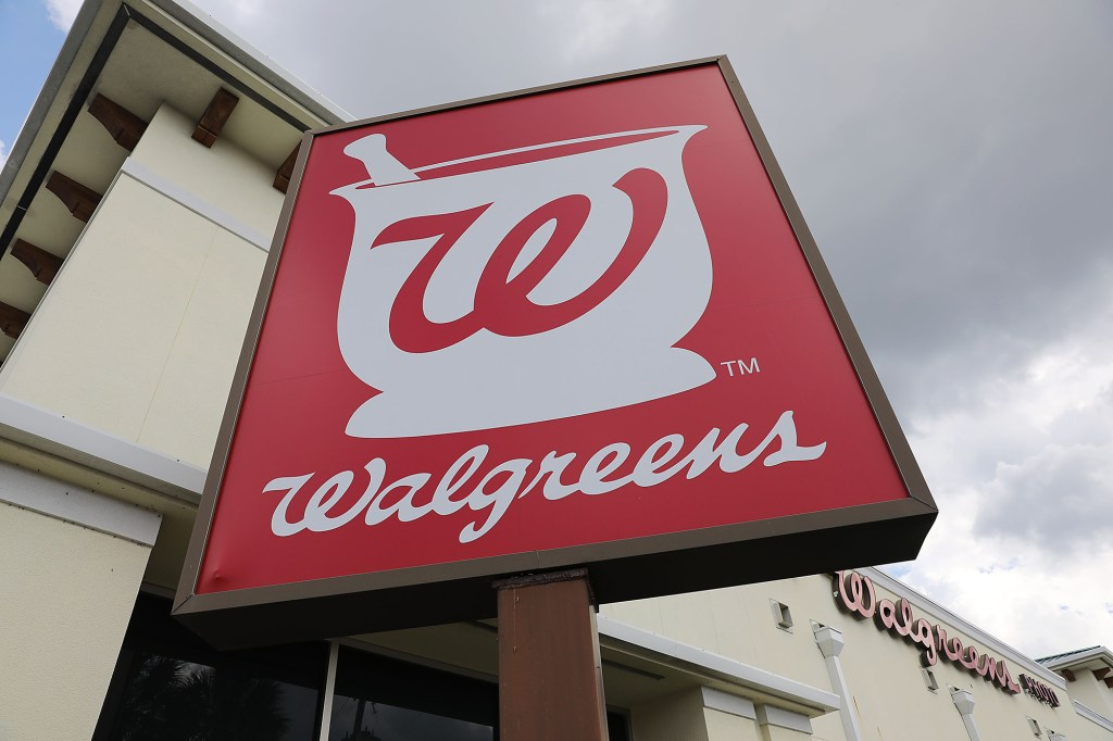 Walgreens logo seen on signage outside a store