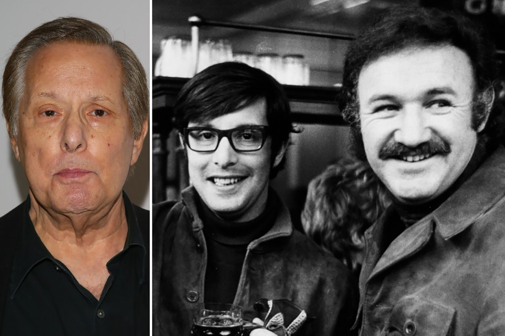 """William Friedkin at a 2016 Academy screening of """"The French Connection,"""" and having a beer with Gene Hackman during a promotional tour for their seminal film in in 1971."""