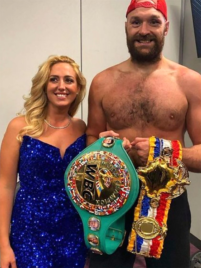 Tyson Fury with wife Paris after beating Deontay Wilder.