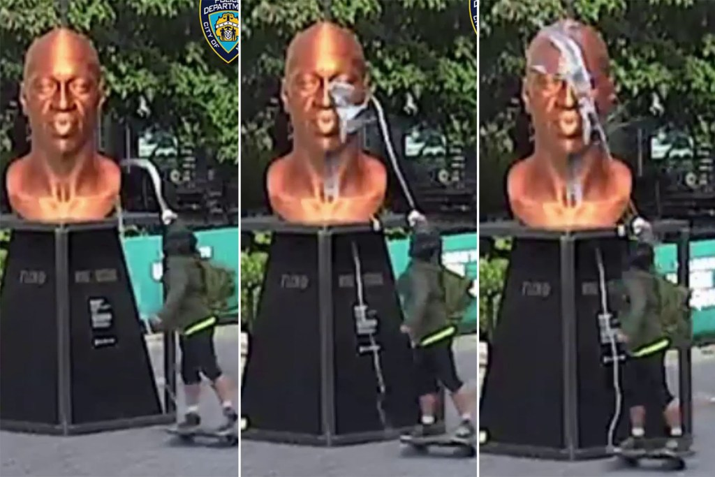 Images released by the NYPD show the vandal defacing the statue.