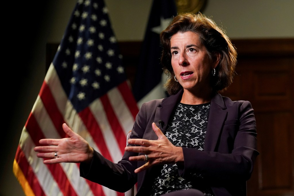 Commerce Secretary Gina Raimondo speaks during a Reuters interview at the Department of Commerce in Washington U.S., September 23, 2021.