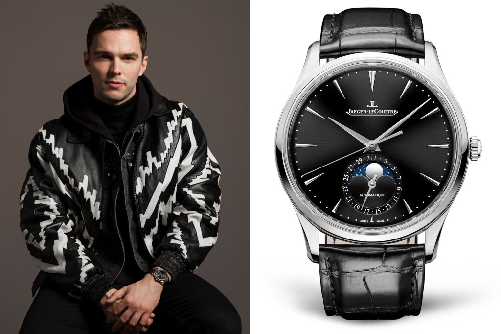 Side by side of Nicholas Hoult and his Jaeger-LeCoultre Master Ultra Thin Moon watch.