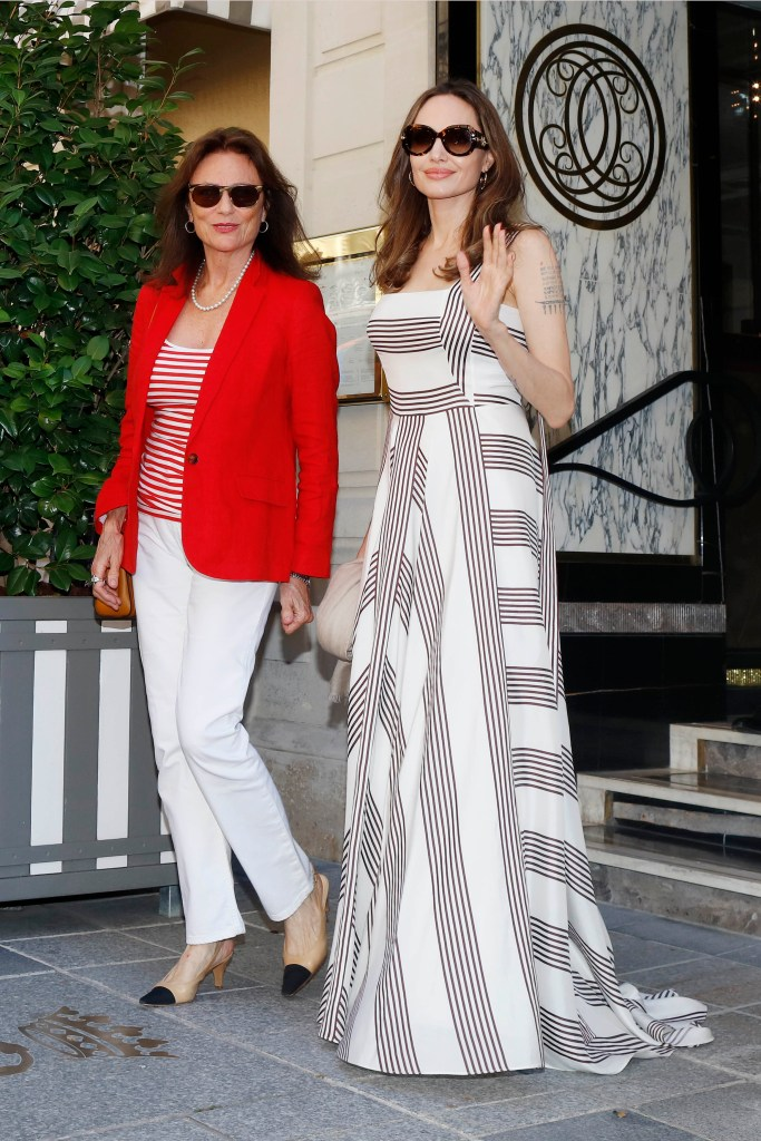 Angelina Jolie And Jacqueline Bisset Leave Their Hotel in Paris, France.