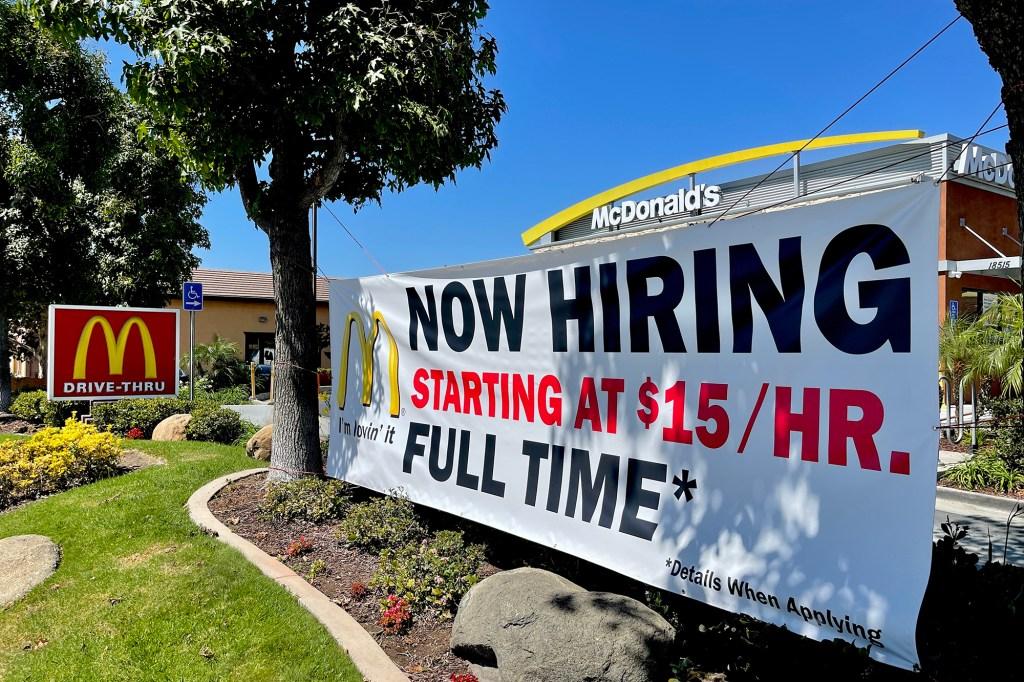 """A Now hiring sign at McDonald""""s"""