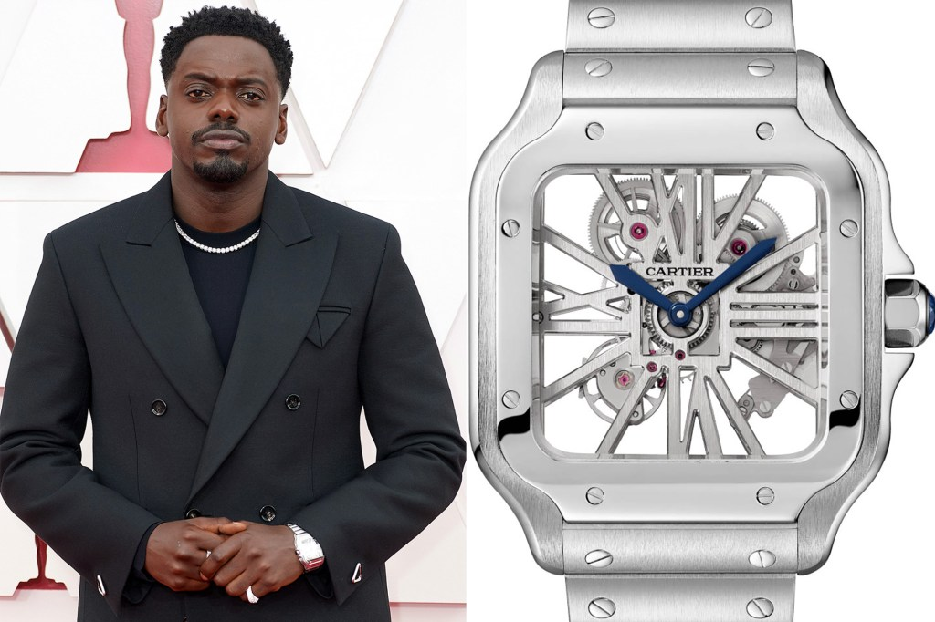 A side by side of Daniel Kaluuya and his Cartier watch.