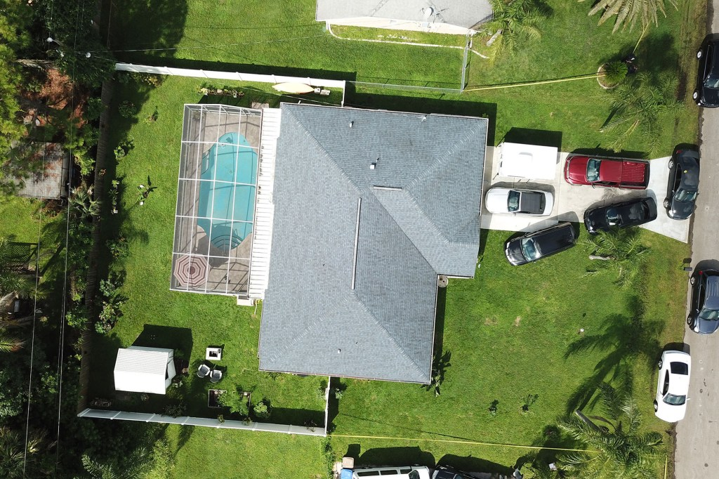 An aerial view of Brian Laundrie's home in North Port, Florida on September 20, 2021.