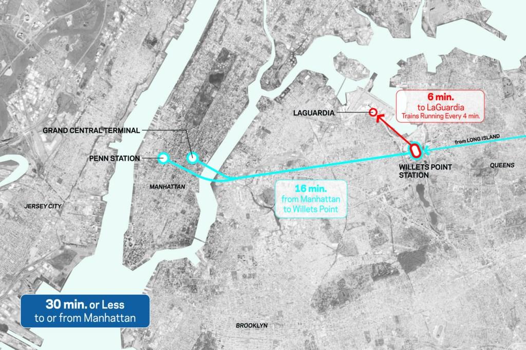LGA AirTrain map.