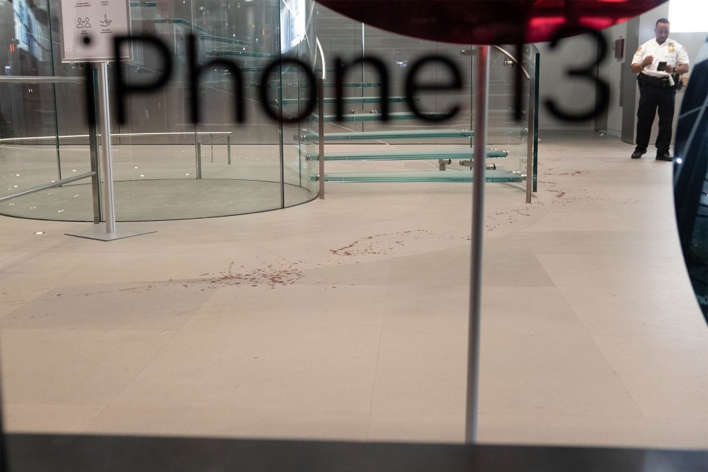Blood is seen on the floor of the store in Chelsea.