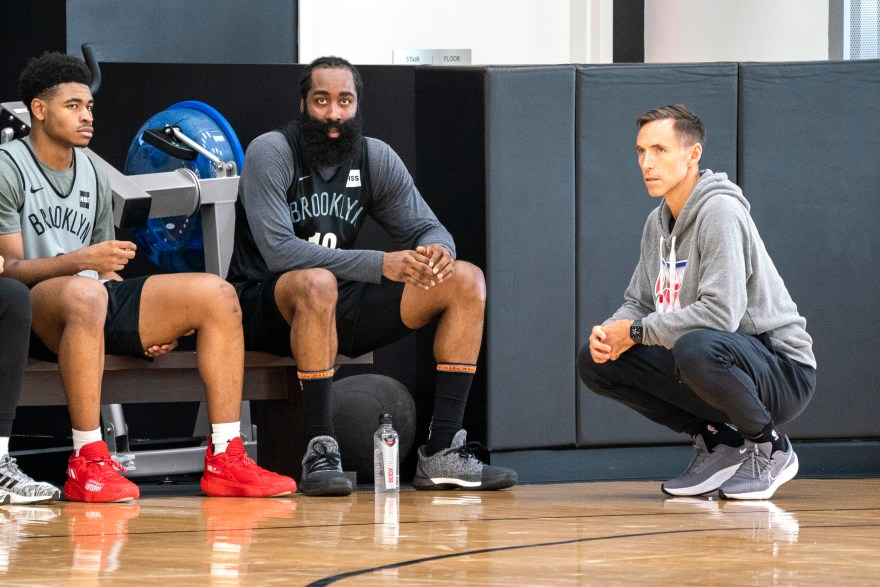 Cam Thomas (left), James Harden (center) and Steve Nash at Nets practice on Oct. 13, 2021.