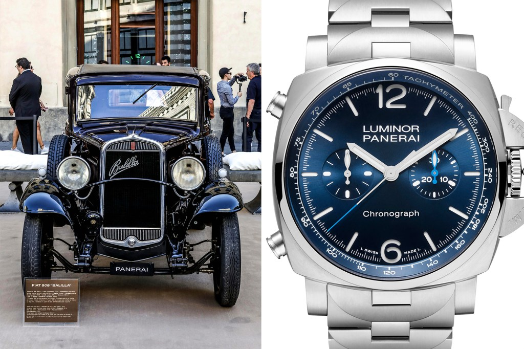 A side by side of a Panerai watch and a car outside its museum.