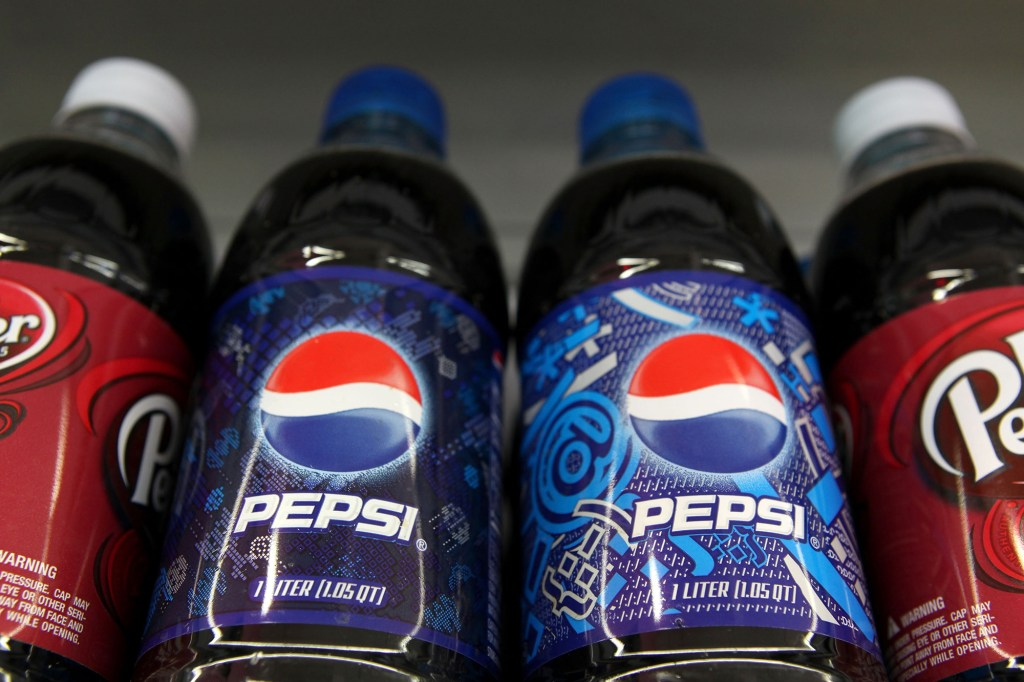 Pepsi bottles on a shelf