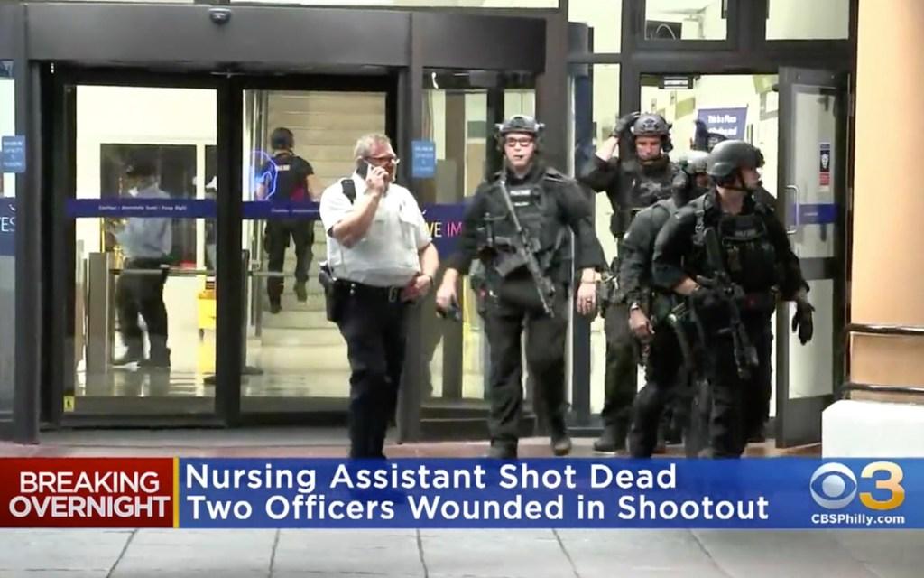 Police at the scene of the hospital shooting in Philadelphia.