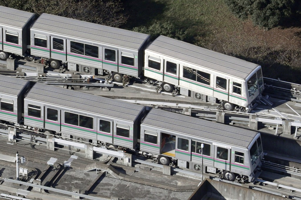 A Nippori-Toneri Liner train derailed on October 8, after an earthquake jolted the Tokyo region.