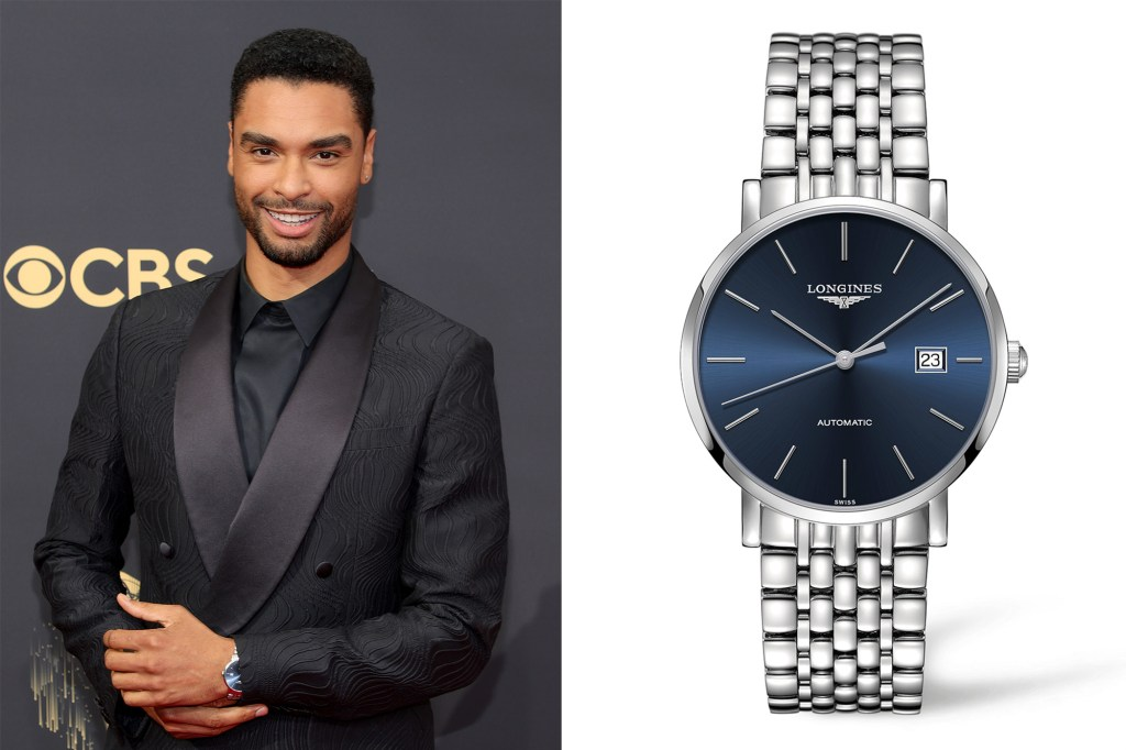 Side by side of Rege Jean Page and his Longines watch.