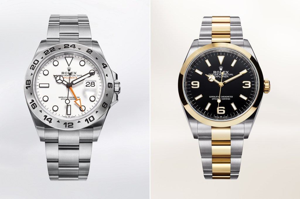 A side by side of two Explorer Rolexes.