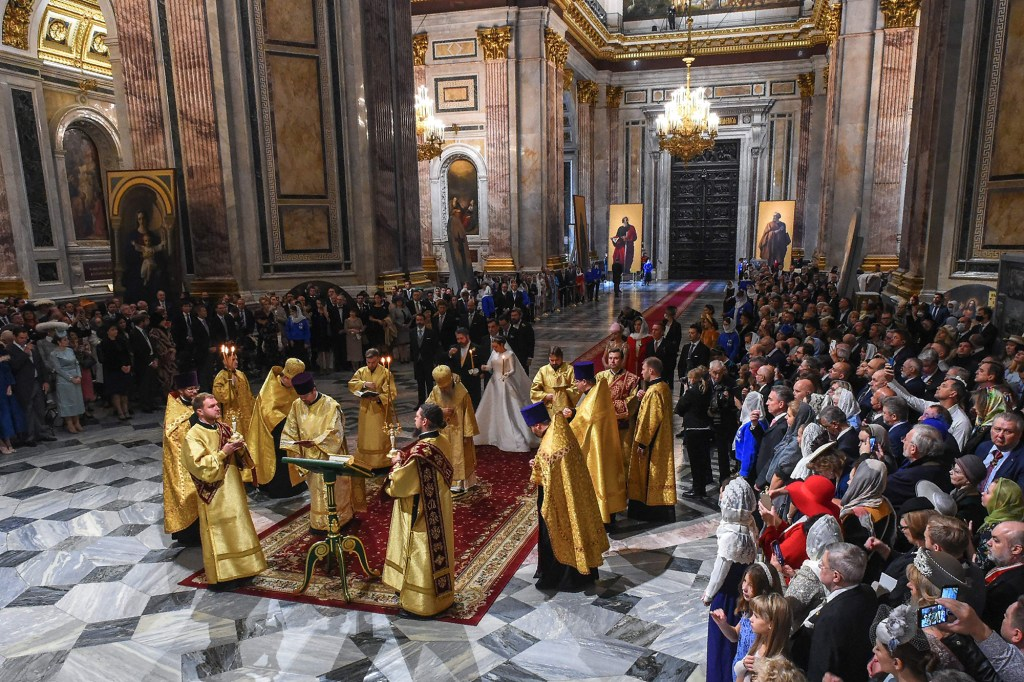 The wedding was held in Saint Isaac's Cathedral.