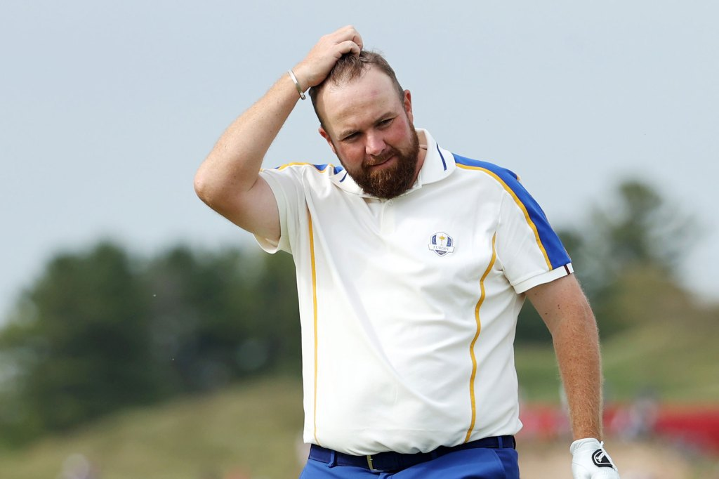 Shane Lowry of Ireland and team Europe reacts on the 16th green after losing to Patrick Cantlay of team United States