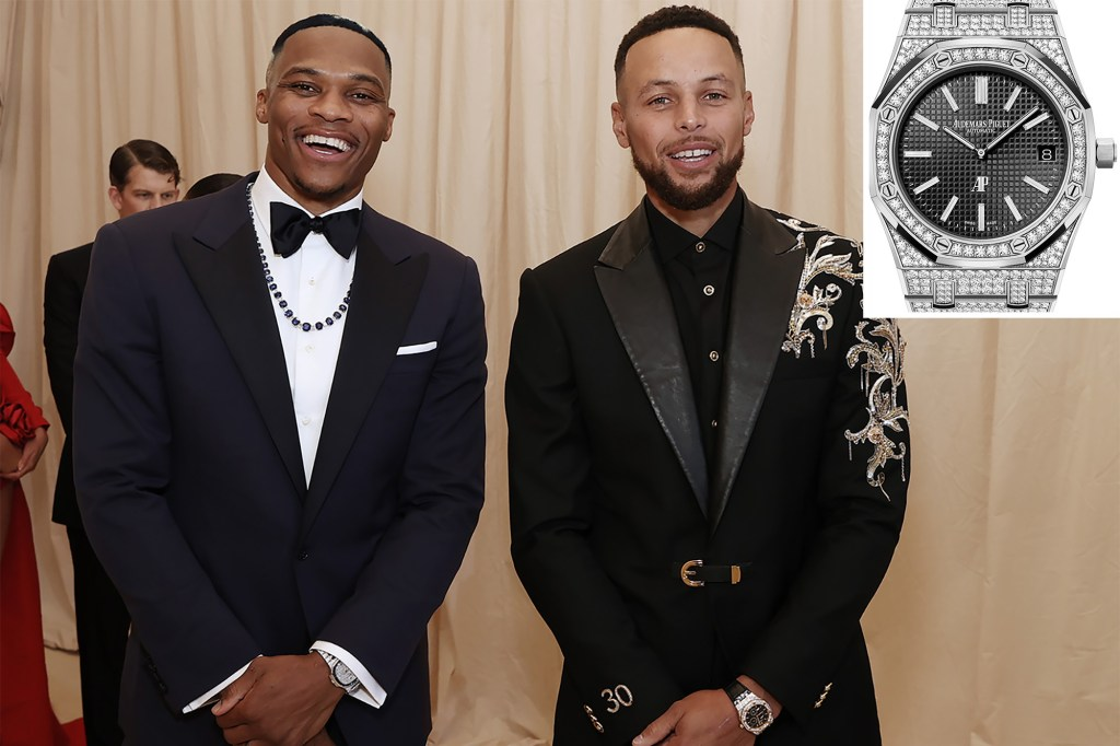 A photo of Russell Westbrook and Steph Curry with an inset of a Audemars Piguet   Royal Oak watch.