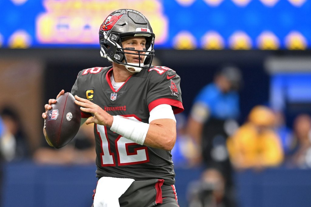 Tampa Bay Buccaneers quarterback Tom Brady (12) throws a pass