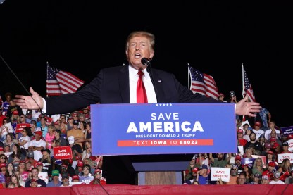 Former President Donald Trump speaks at a rally in Iowa.