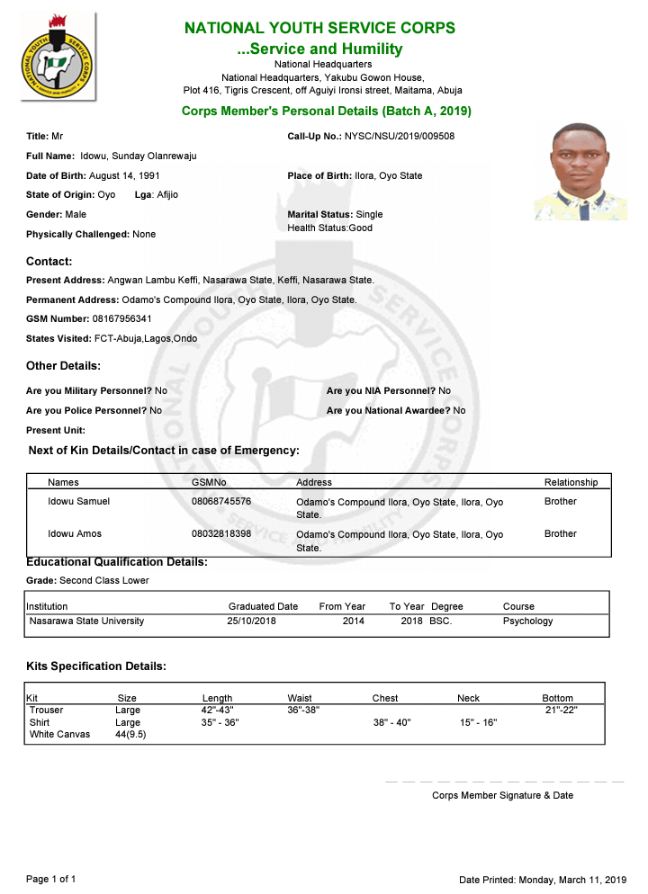 nysc green card sample