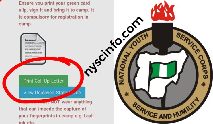 Nysc call-up letter is out