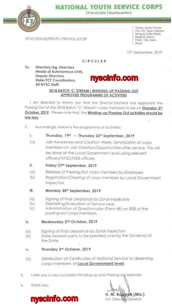 NYSC fixes 2018 Batch C Stream 1 POP to 3rd October