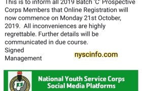 NYSC officially extend 2019 Batch C online registration date