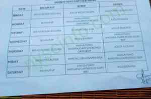 Nysc food time table