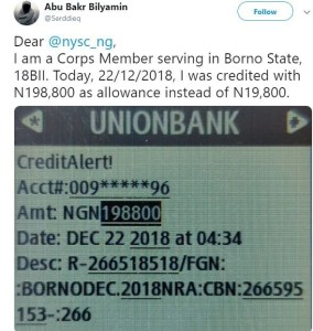 NYSC Credited a Corper 198,800 Instead of 19,800