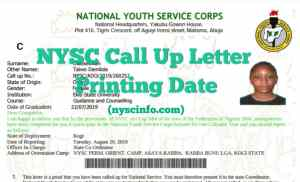 Nysc call up letter printing date