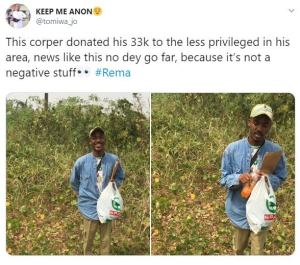 Corps Member Donates His N33,000 to Less Privileged