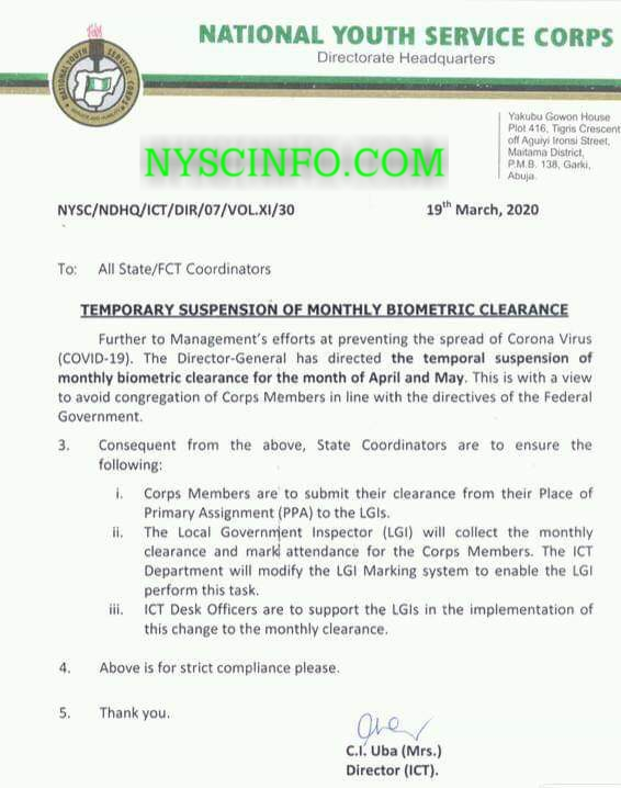 NYSC suspends monthly biometric clearance for corps members nationwide