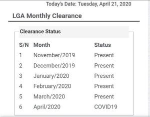 NYSC Clarification on April Clearance Status Showing COVID-19