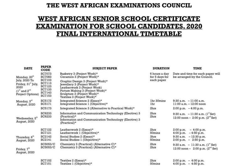 WAEC timetable 2020 august