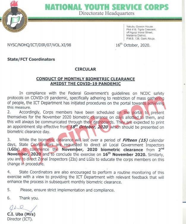 NYSC Clearance Appointment Slip