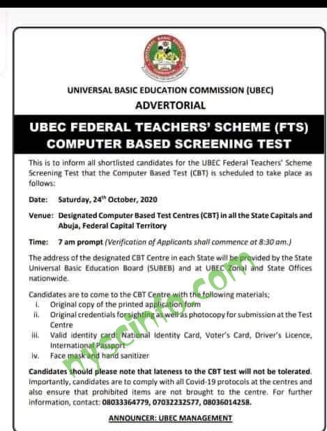 UBEC FTS screening test