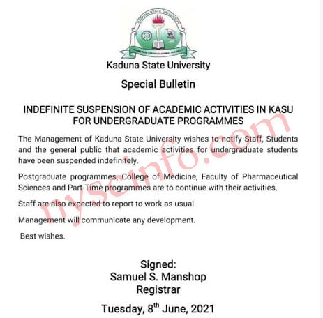 KASU Suspends Academic Activities For Undergraduate Program